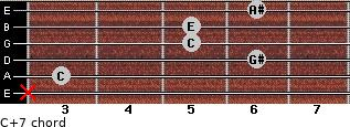 C+7 for guitar on frets x, 3, 6, 5, 5, 6