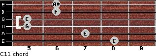 C11 for guitar on frets 8, 7, 5, 5, 6, 6