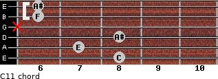 C11 for guitar on frets 8, 7, 8, x, 6, 6