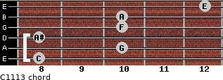 C11/13 for guitar on frets 8, 10, 8, 10, 10, 12