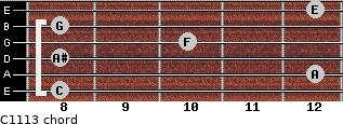 C11/13 for guitar on frets 8, 12, 8, 10, 8, 12