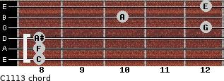 C11/13 for guitar on frets 8, 8, 8, 12, 10, 12