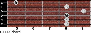 C11/13 for guitar on frets 8, 8, 8, 9, 8, 5