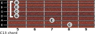 C13 for guitar on frets 8, 7, 5, 5, 5, 5