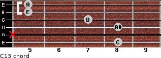 C13 for guitar on frets 8, x, 8, 7, 5, 5