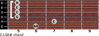 C13\A# for guitar on frets 6, 7, 5, 5, 5, 5