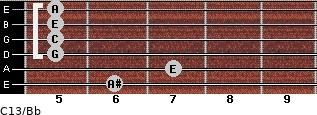 C13\Bb for guitar on frets 6, 7, 5, 5, 5, 5