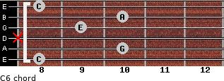 C6 for guitar on frets 8, 10, x, 9, 10, 8