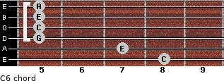 C6 for guitar on frets 8, 7, 5, 5, 5, 5