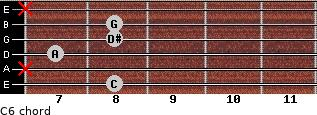 C-6 for guitar on frets 8, x, 7, 8, 8, x