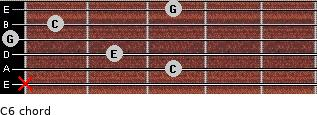 C6 for guitar on frets x, 3, 2, 0, 1, 3