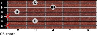 C-6 for guitar on frets x, 3, x, 2, 4, 3