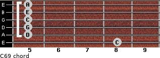 C6/9/ for guitar on frets 8, 5, 5, 5, 5, 5