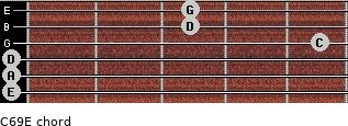 C6/9/E for guitar on frets 0, 0, 0, 5, 3, 3