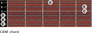 C6/9/E for guitar on frets 0, 0, 0, 5, 5, 3
