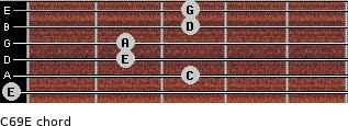 C6/9/E for guitar on frets 0, 3, 2, 2, 3, 3