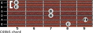 C6/9b5 for guitar on frets 8, 9, 7, 7, 5, 5