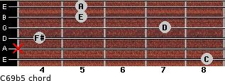 C6/9b5 for guitar on frets 8, x, 4, 7, 5, 5