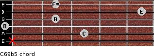 C6/9b5 for guitar on frets x, 3, 0, 2, 5, 2