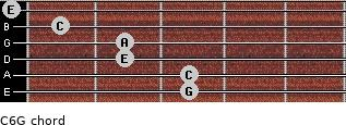 C6\G for guitar on frets 3, 3, 2, 2, 1, 0