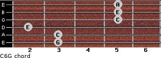 C6\G for guitar on frets 3, 3, 2, 5, 5, 5
