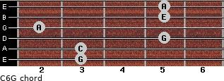 C6\G for guitar on frets 3, 3, 5, 2, 5, 5