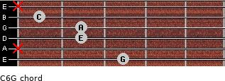 C6\G for guitar on frets 3, x, 2, 2, 1, x