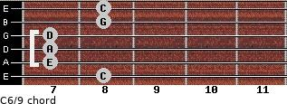C6/9 for guitar on frets 8, 7, 7, 7, 8, 8