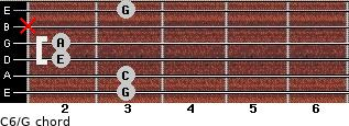 C6\G for guitar on frets 3, 3, 2, 2, x, 3