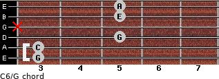 C6\G for guitar on frets 3, 3, 5, x, 5, 5