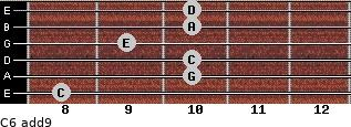 C6(add9) for guitar on frets 8, 10, 10, 9, 10, 10