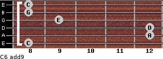C6(add9) for guitar on frets 8, 12, 12, 9, 8, 8