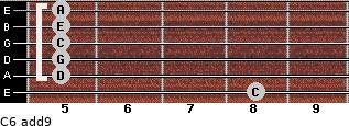 C6(add9) for guitar on frets 8, 5, 5, 5, 5, 5
