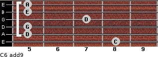 C6(add9) for guitar on frets 8, 5, 5, 7, 5, 5