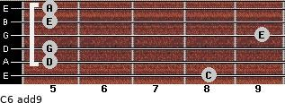 C6(add9) for guitar on frets 8, 5, 5, 9, 5, 5