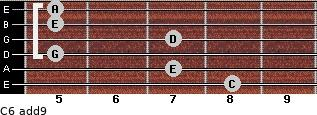 C6(add9) for guitar on frets 8, 7, 5, 7, 5, 5