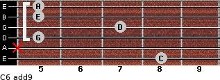 C6(add9) for guitar on frets 8, x, 5, 7, 5, 5