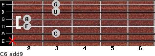C6(add9) for guitar on frets x, 3, 2, 2, 3, 3