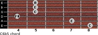 C6b5 for guitar on frets 8, 7, 4, 5, 5, 5