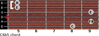 C6b5 for guitar on frets 8, 9, x, 9, 5, 5