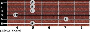 C6b5/A for guitar on frets 5, 7, 4, 5, 5, 5