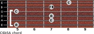 C6b5/A for guitar on frets 5, 7, 7, 5, 7, 8