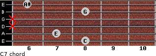 C7 for guitar on frets 8, 7, x, x, 8, 6
