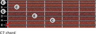 C7 for guitar on frets x, 3, 2, 0, 1, 0
