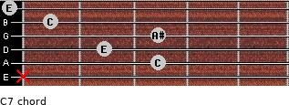 C7 for guitar on frets x, 3, 2, 3, 1, 0