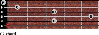 C7 for guitar on frets x, 3, 5, 3, 1, 0