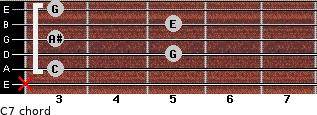C7 for guitar on frets x, 3, 5, 3, 5, 3