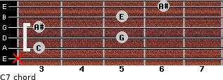 C7 for guitar on frets x, 3, 5, 3, 5, 6