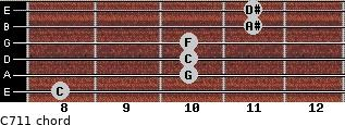 C-7/11 for guitar on frets 8, 10, 10, 10, 11, 11