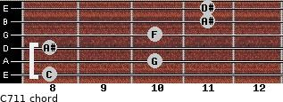 C-7/11 for guitar on frets 8, 10, 8, 10, 11, 11